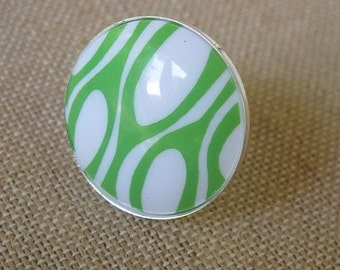 Green Ring, Green and Silver Ring, Retro Ring, Vintage Ring,Statement Ring
