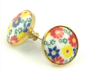 Vintage Yellow and Red Floral Post Earrings