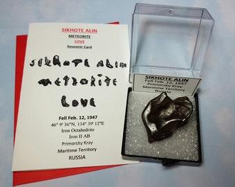 Meteorite LOVE 41.3 Gram Sikhote Alin Heart Shape Meteorite In Larger Size Display Box Fell 1947 Russia With Meteorite Writing Card