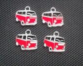 4 VW Camper Van Enamelled Silver Tone Metal Charms Red