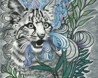 "Cat Art Illustration -  Wildcat kitten Drawing Charcoal Art Print - ""Penelope"""