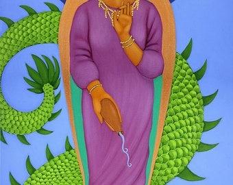 Kwan yin, Quan yin, Guan yin with Dragon - Art Print of Acrylic Painting - Wall Art and Home Decor by Tamara Adams