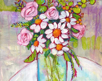 Framed Art, Daisy Floral Painting, Original Artwork, Daisies, Flowers, Still Life, 11X14 Canvas