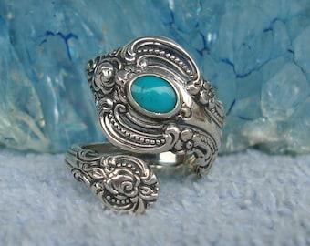 Vintage Turquoise Towle Sterling Spoon Ring   El Grande    dmfsparkles