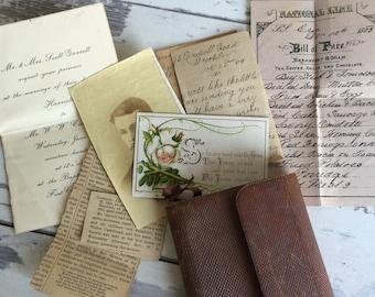 Antique Leather Wallet Notebook - Achieve Ephemera - 1900s William Cakebread Ft. Collins Colorado