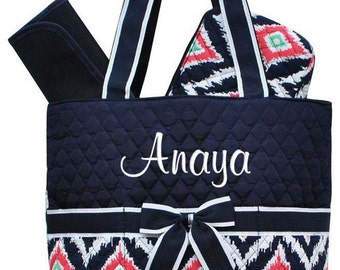 Personalized Diaper Bag Navy Blue Ikat Quilted Monogrammed Baby Tote