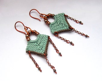 Crochet earrings,tribal earrings,ethnic earrings,dangle earrings,fiber earrings,native inspired,boho,gypsy,mint,gift for her,spring,summer