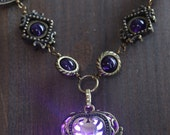Neo Victorian Jewelry - Necklace - Purple Heart locket with glowing orb Antique Bronze