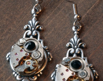 Steampunk Earrings -Swarovski Crystal