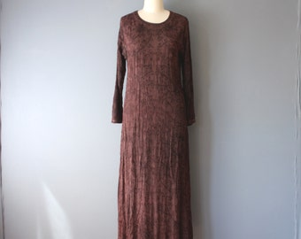 vintage 90s dress / burgundy embroidered maxi dress / hippie dress / small