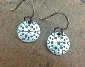 Tribal Snowflake Small Disc Earrings in Sterling Silver - Ethnic Hand Stamped Pattern Disk Earrings - Bohemian - Boho Chic