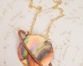Extra Small Saturn Necklace, Capricorn Necklace, Aquarius Necklace, Hammered Copper Necklace, Mini Pendant Necklace, Planet Necklace