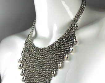 SALE - Vintage Rhinestone Crystal Fringe Statement Necklace