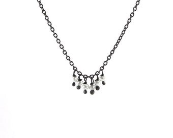 Faceted Grey Diamond Bead Fringe Necklace in Oxidized Sterling Silver with Six Diamonds