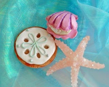 Mermaid Pin Seashell Brooch Pastel Iridescent Mermaid Jewelry Lucite Starfish Little Mermaid Pin Up Purple Clamshell Brooch