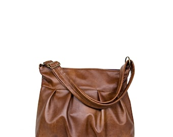 Ruche Mini, Market Bag, Pleated Hobo, Ruche Bag, Brown Leather Purse, Pleated Market Bag, Zipper Top Hobo, Made to Order