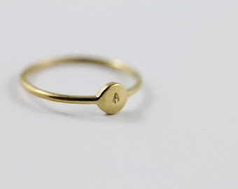 INITIAL RING - custom initial monogram gold stacking ring