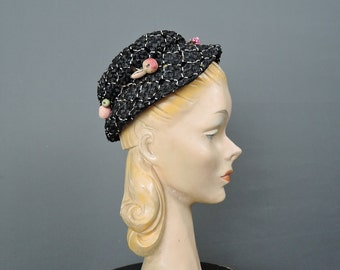 Vintage Black Straw 1950s Hat with Fruit by Barbara Lee 1940s, 21 inch head