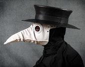 Stiltzkin leather plague doctor mask in white