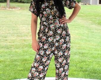 1950s Asian Print Pajama Set