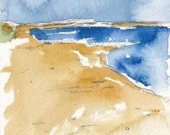 White Sand Beach, Original Watercolour Painting, 5 x 7 inches, Water, Ocean