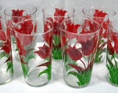Set Of 8 Vintage  Red Tulip Flower Glass Tumblers Drinking Glasses