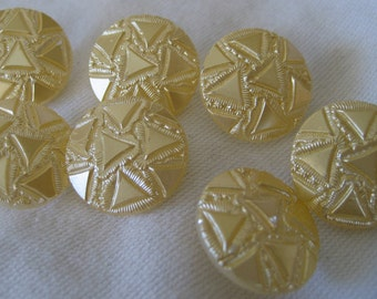 Set of 7 VINTAGE Light Cream yellow Frosted Clear Glass BUTTONS