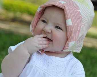 UB2 PEEK-A-BOO a perfectly, girlie, classically baby summer sun hat bonnet in pastel pink, coral & cream by Urban Baby Bonnets (all sizes)