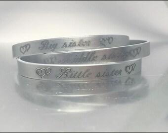 Sisters Gift, Big Sister, Little Sister, Sisters Gift Set, Sisters Set of 2 or 3 ALUMINUM engraved Bracelets, Personalised Sisters Bracelets