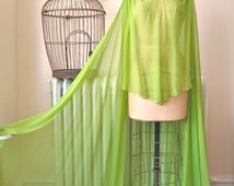 Peridot Princess   Vintage 1960's Evening Cape Full Length Gown Chartreuse Silk Chiffon Amazing Sweep and Train