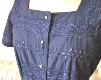 Eleanor | Vintage 1950's 1960s Navy Blue Eyelet Dress Shirtwaist Day Dress Rhinestone Button Front