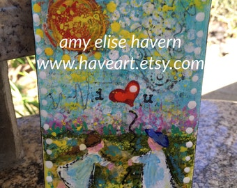 I Heart You original mixed media painting by Amy Elise Havern