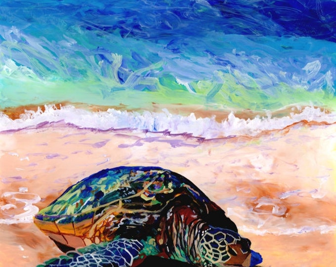 Green Sea Turtle Honu at Poipu Beach 8x8 art print from Kauai Hawaii sand ocean beach Hawaiiana animals whimsical kids room art home decor