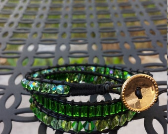 Stunning green crystal beaded leather wrap bracelet with gold button closure