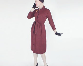 50s Claire McCardell Cedar and Black Gingham Wool Dress XS S