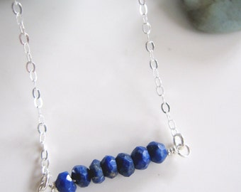 Blue Lapis Bar Necklace, Gemstone Necklace, Sterling Silver, Layering Necklace, Minimalist Jewelry, Gardendiva