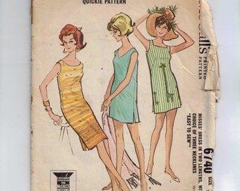 1960s Vintage Sewing Pattern McCalls 6740 Misses Shift Dress Size Small 10 12 Bust 31 32 or Size 14 16 Bust 34 361960s 1963 60s  99
