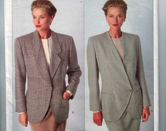 Misses Sewing Pattern Vogue 22393 Calvin Klein Single Double Breasted Blazer Jacket Size 12 14 16 Bust 34 36 38 UNCUT