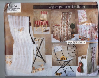 Home Decor Sewing Pattern Vogue 2084 Patterns for Living Chair covers Folding Dining Wedding UNCUT