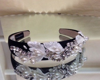 Handmade by me Vintage Style Pearl and Bling covered headband embellished band