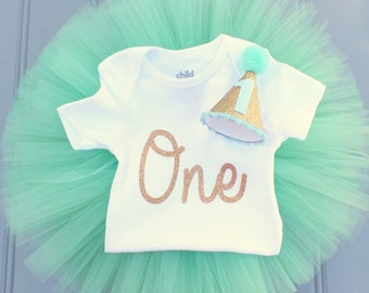 Mint and Gold Cake Smash Outfit Girl, First Birthday Outfit Girl, 1st Birthday Outfit, First Birthday Tutu Skirt, Tulle Skirt, SEWN Tutu Set