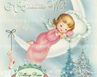 Pink Angel Christmas Wish Large digital download Printable ECS buy 3 get one free ECS SVFTEAM