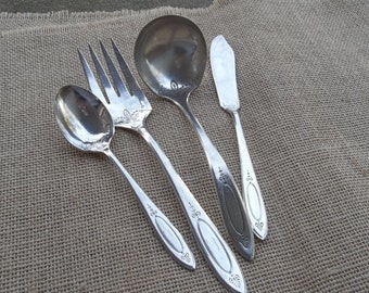 Silver Plate Ladle MONOGRAM L Adam Vintage Silverplate Serving Set Silver Flatware Wedding Décorations Table Decor French Country