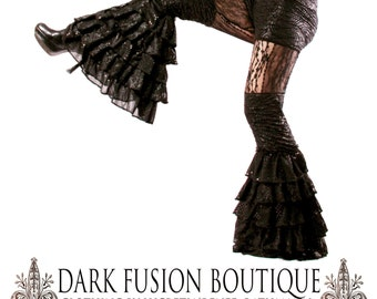 Pants,  Medium, Ready to Ship, Black, Ruffles, Tribal Fusion, Burningman, Dicso, Exotic