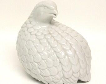 White Ceramic Quail Figurine