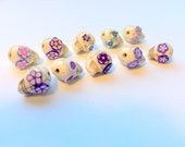 Purple and Ivory Howlite Sugar Skull Beads-Collection of 10
