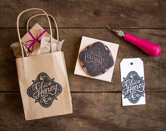 """Custom Hand Carved Rubber Stamp of Your Logo - up to 3"""" x 3"""" - Perfect for branding marketing packaging labels business cards and more"""