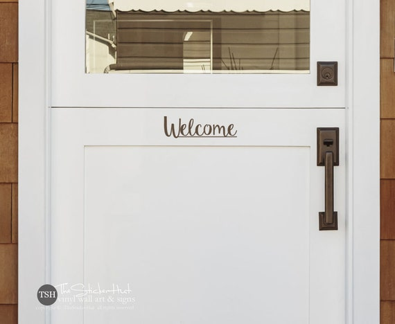 Welcome decal front door decal vinyl lettering vinyl for Door vinyl design