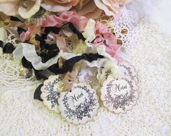 Vintage French Style Merci Favor Tags w/ribbons - Set of 15 - Choose Ribbons- French Rustic Wedding Shower Engagement Party