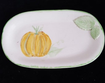 Oval Dish with Hand Painted Pumpkin
